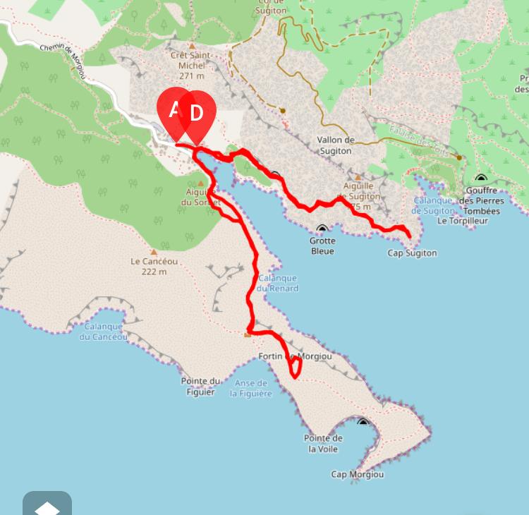 itinéraire avec visorando randonnée calanques morgiou et sugiton