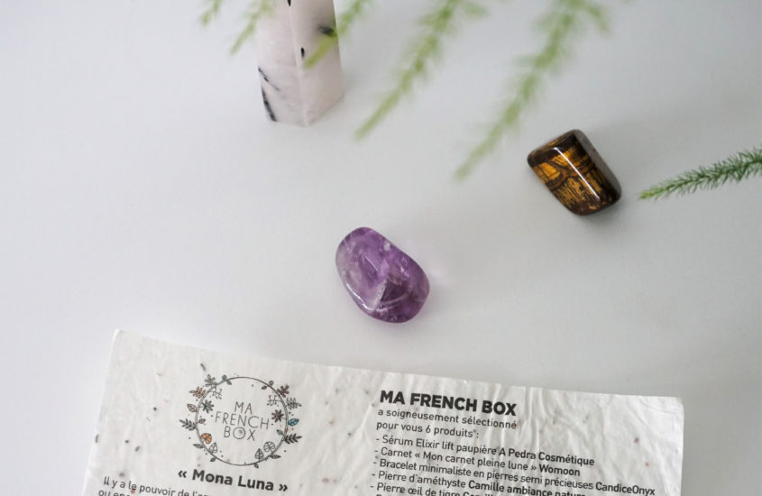 meeriwild-mafrenchbox-unboxing-papier-ensemencé-amethyste-oeil-tigre-cristal