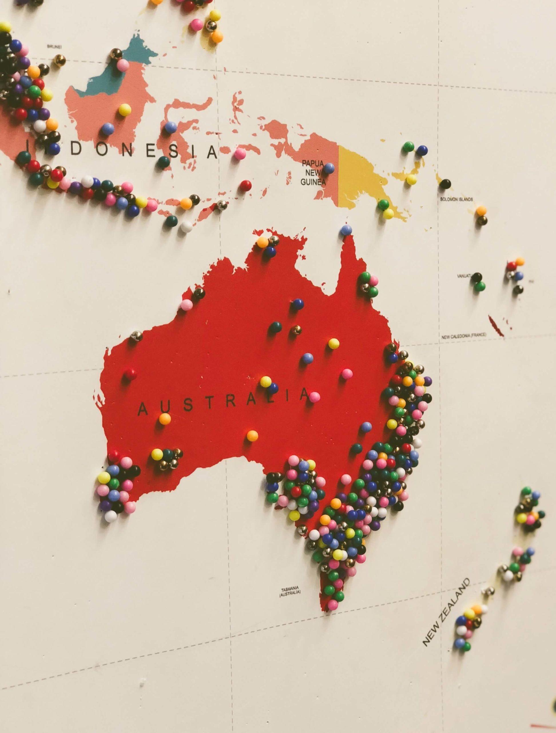 carte Australie et Nouvelle-Zélande