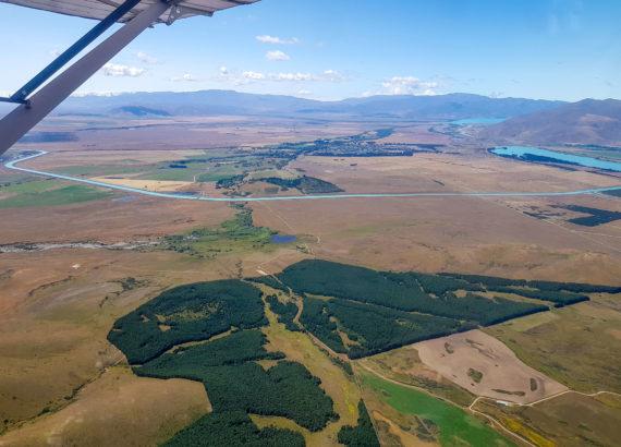 Vol au dessus de Twizel et des lacs