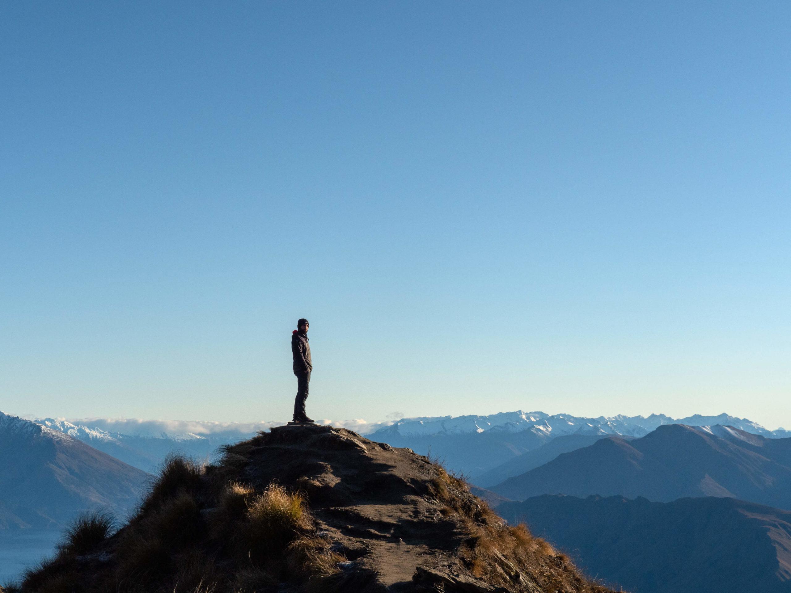 Antoine au sommet du pic Roy