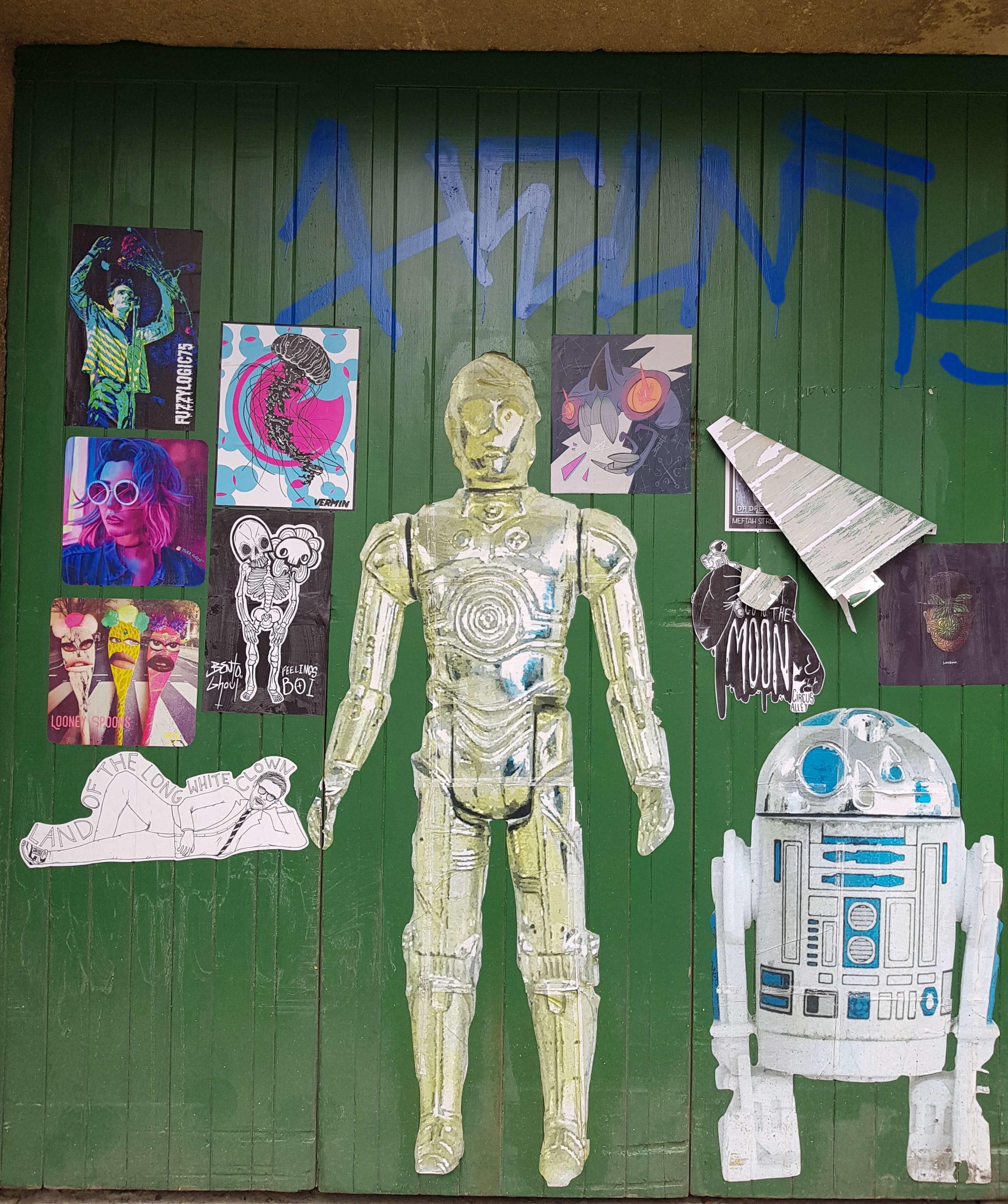 C3PO et R2D2 droïd Star wars street art trail Dunedin