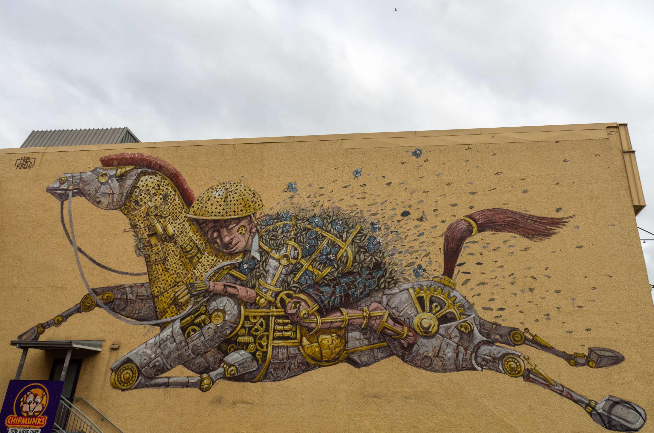 Cheval et cavalier street art trail Dunedin