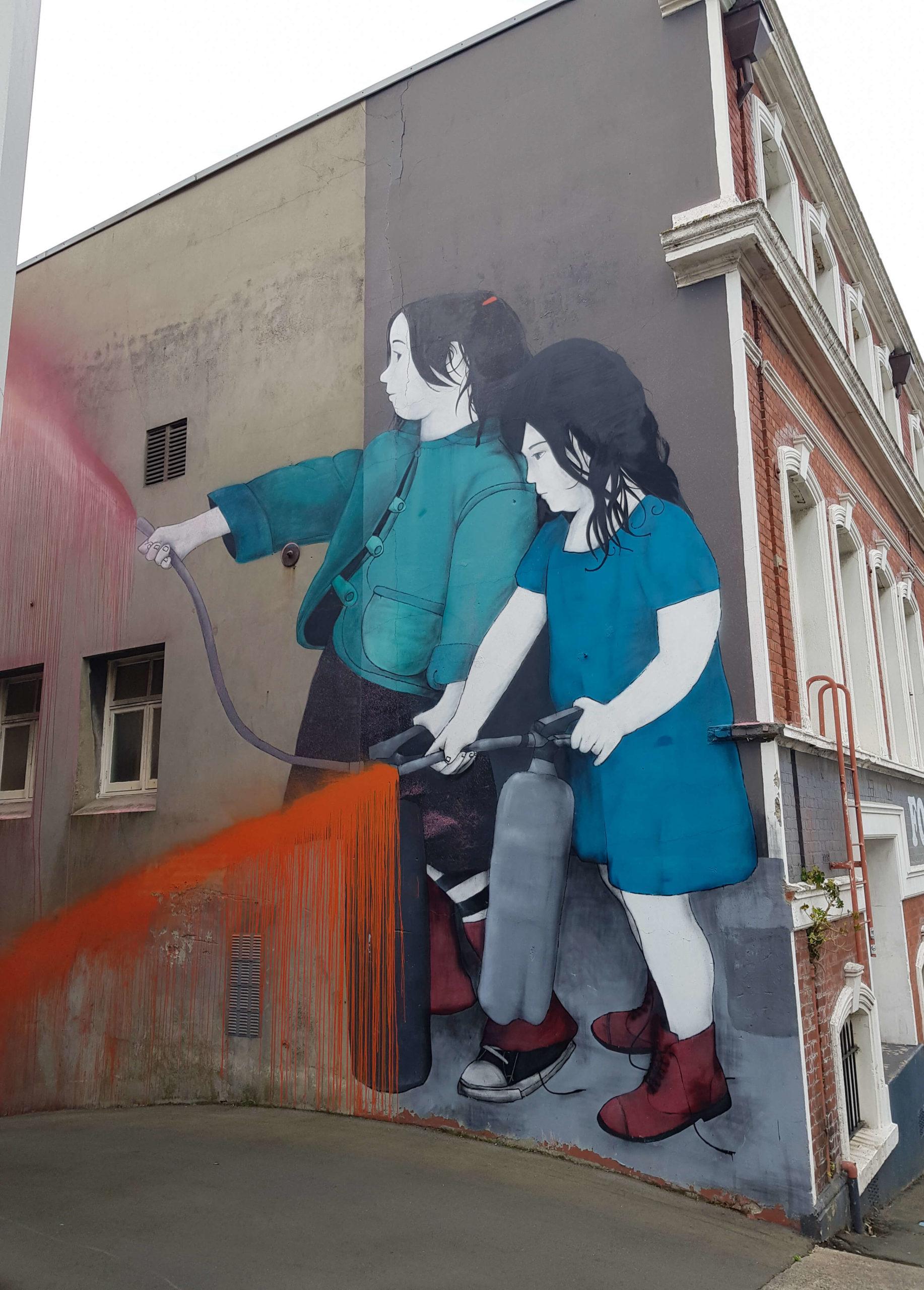 Enfants et peinture street art trail Dunedin