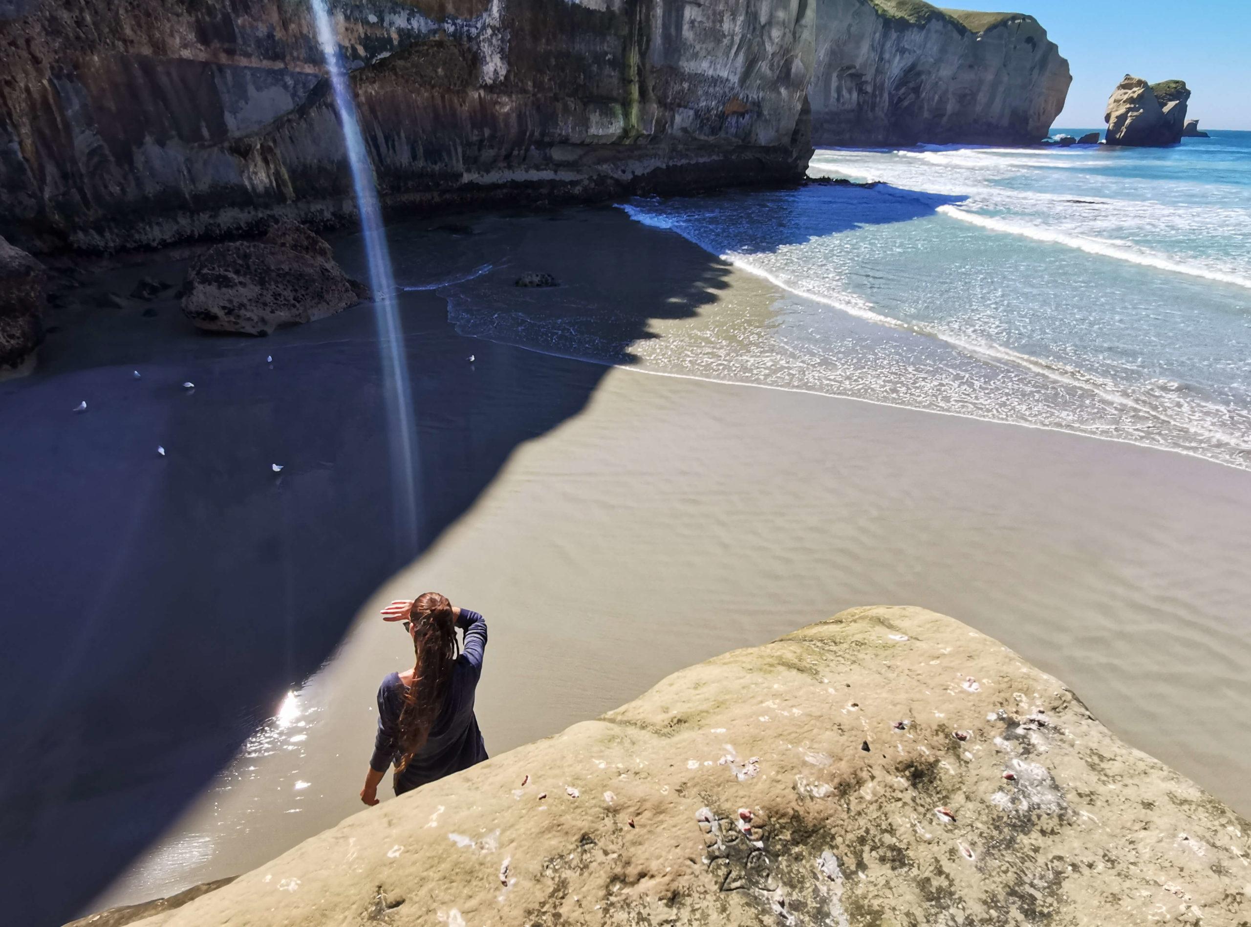 Meeriwild plage et mouettes Tunnel beach Nouvelle-Zélande